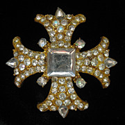 Vintage Rhinestone Maltese Cross Pin Brooch 1960s
