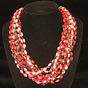 Vintage Hong Kong Pink Red Black Multi Strand Layered Necklace