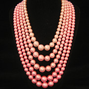Vintage Hong Kong 5 Strand Glass Pearl Summer Necklace 1960s