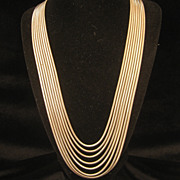 Vintage Gatsby Style Layered Snake Chain Necklace 1970s