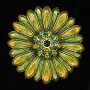 Vintage Monet Green Enamel Rhinestone Flower Pin 1960s