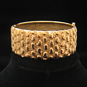 Vintage Carolee Heavy Chunky Textured Clamper Bracelet 1970s
