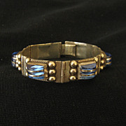 SOLD Vintage Art Deco Mexican Sterling Silver Glass Bracelet