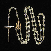 SALE PENDING Vintage Sterling Silver Bell Shaped Crystal Bead Rosary 1950s