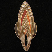 French Gatsby Art Deco Rhinestone Enamel Floral Pin