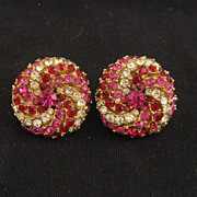 Vintage Designer Art Ruby & Crystal Rhinestone Earrings 1960s