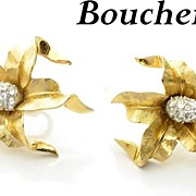 Vintage Boucher Earrings with Rhinestones