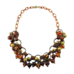 Vintage Celluloid Glass Beads Brass Bib Necklace