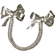 Vintage Coro Chatelaine Double Swag Bow Pin
