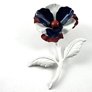 Vintage Red White Blue Enamel Flower Power Pin