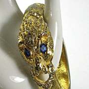 Vintage Giorgio Rhinestone Lion Clamper Bracelet