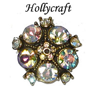 Vintage Hollycraft Aurora Borealis Rhinestone Cocktail Ring