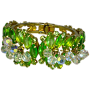 Vintage Juliana D&E Peridot Rhinestone Clamper Bracelet