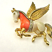 SOLD Rare Vintage Signed Kramer Figural Pegasus Brooch