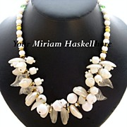 Vintage Miriam Haskell White Glass & Lucite Necklace
