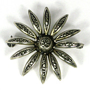 Vintage Sterling Marcasite Sunflower Pin Brooch