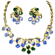 Napier Blue & Green Rhinestone Vintage Necklace and Large Earrings