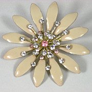 Vintage Enamel & Rhinestone Flower PIn