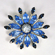 SOLD Vintage Sherman Sapphire and Light Blue Rhinestone Brooch
