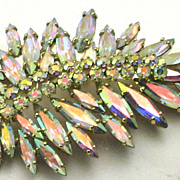 Vintage Sherman Aurora Borealis Leaf Brooch Pin
