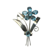Vintage Sterling Silver Large Flower Pin Brooch with Crystals