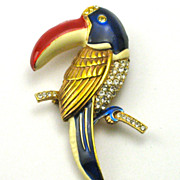 Vintage Whimsical Toucan Bird Figural Pin With Rhinestones