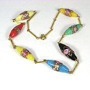 Vintage Murano Wedding Cake Glass Bead Necklace