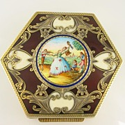 Austro-Hungarian Victorian enamel vermeil box, antique enamel box