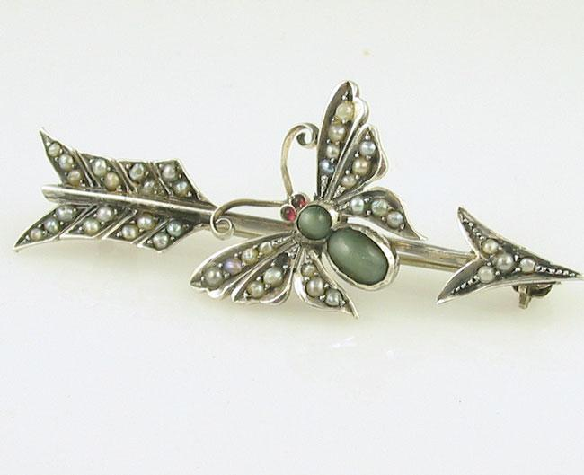 Victorian butterfly brooch, antique sterling brooch with green tiger's eye stones