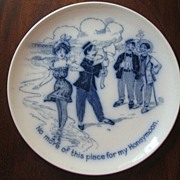Flow Blue Comical Honeymoon Plate, c. 1900