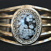 SALE PENDING Navajo Sterling and Snowflake Obsidian Cuff, Signed NT