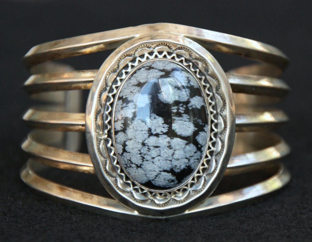 Navajo Sterling and Snowflake Obsidian Cuff, Signed NT