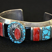 SOLD Heavy Sterling Cuff with Spiny Oyster, Turquoise, Jasper, and Jet