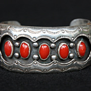 SALE PENDING Stamped Sterling and Coral Shadowbox Cuff by Wilbert Musket