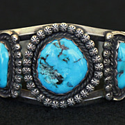 SALE PENDING Rustic Old Pawn Sterling Cuff with 3 Turquoise Stones