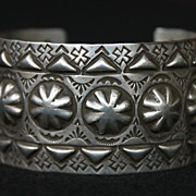 SALE PENDING Repousse Stamped Sterling Cuff by Navajo Artist Ronnie Willie