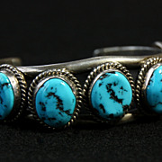 SALE PENDING Large, Hefty Row Bracelet with 7 Turquoise Cabochons