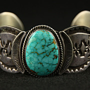 SALE PENDING Stamped Sterling and Turquoise Cuff by Wilson Begay
