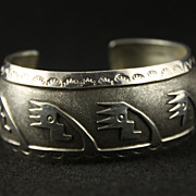 SALE PENDING Sterling Overlay Cuff with Geometric Designs and Stamped Borders