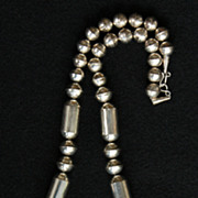 SALE PENDING 24&quot; Navajo Pearls Necklace with Graduated, Stamped Sterling Beads
