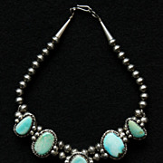 SALE PENDING Petite Squash Blossom Choker with Pale Blue Turquoise