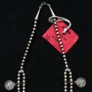 SOLD Squash Blossom Necklace with Mercury Dimes by Edison Begay