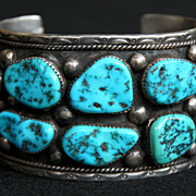 SALE PENDING Heavy Sterling Row Bracelet with Kingman Turquoise by Paul Johnson