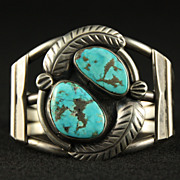 SOLD Sterling Cuff with 2 Oval Turquoise Stones and Applied Feathers
