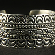 SALE PENDING Solid Stamped Sterling Cuff by Navajo Artist V. Hicks