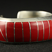 SALE PENDING Beautiful Sterling Cuff with Coral Inlay