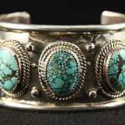 SOLD Sterling Cuff with Spiderweb Turquoise and Beads by Ben Yazzie