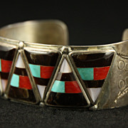 SOLD Zuni Sterling Cuff with Inlaid Triangles by Delbert Westika