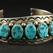 SOLD Heavy, Chunky Sterling and Turquoise Cuff by Oscar Smith