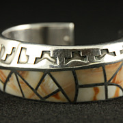 SOLD Hefty Sterling Cuff with Silver Overlay and Spiny Oyster Inlay